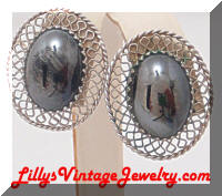 WHITING and DAVIS Metallic Silver Cabochan Earrings